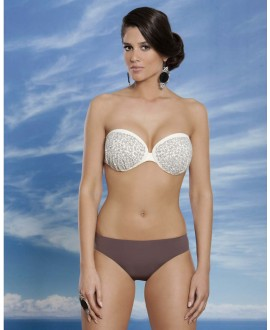 Two piece swimwear with finest embroidery and Swarovski combination on balconet bandeau with padding